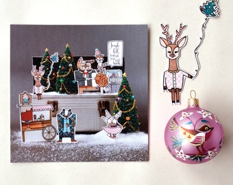 Set of 5 christmas / holiday greeting cards