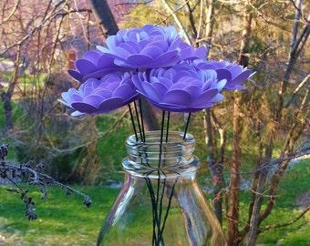 Paper Flower Bouquet - 6 Small Indigo Purple Mums - Handmade Paper Flowers for Brides, Weddings, Showers, Birthdays, Mother's Day