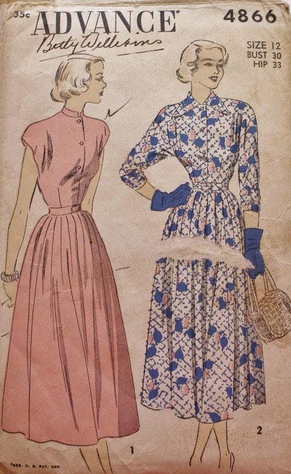 1940s vintage dress pattern fully flared pleated skirt dress