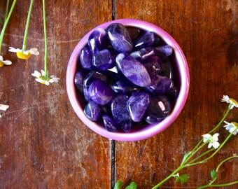 Small/Medium Dark Purple Amethyst Tumbled Healing Crystal Meditation Stone Ritual Wicca Supply Polished Pocket Crystals Gemstones Magical