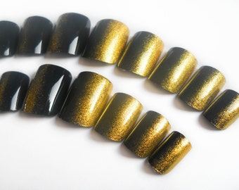 Black and Gold Nails, Fake Nails, False Nails, Acrylic Nails, Press on, Nails, Ombre, Side Manicure, Black, Gold