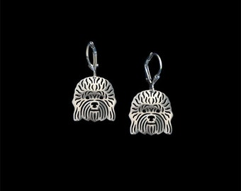 Dandie Dinmont Terrier earrings - sterling silver.