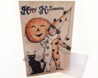 "Halloween Greeting Card ""Happy Halloween"" Little Clown And Her Cat Noir"