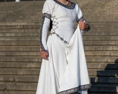 "White Medieval Wedding Dress ""Chess Queen"""