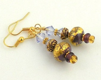 Lavender and Gold Leaf Lampwork Earrings, Beaded Earrings, Gifts, Fashion Jewelry, Valentine Day, Mothers Day