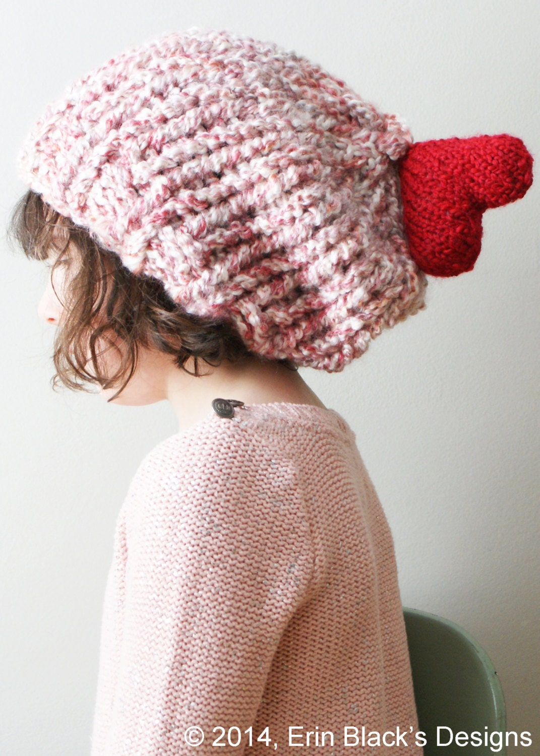 DIY Knitting PATTERN Chunky Slouchy Heart Hat and Cowl in