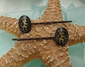 PRICED TO SELL Old World Vintage Coat of Arms Griffon Gold Cabochon Hair Bobby Pin Matching Pair