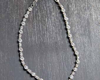 Bridal Choker Austrian Crystal Station Necklace Clear Faceted Crystals Like Rain Drops Catching Light Wedding Birthday Anniversary