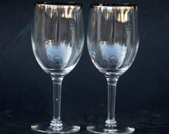 Mid Century Modern Silver Rim Wine Glasses Hand Painted Rim Set of 2 Minimalist