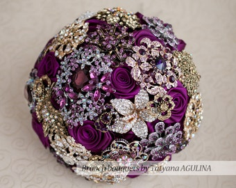 Brooch bouquet. Purple and Gold  wedding brooch bouquet, Jeweled Bouquet.