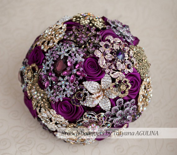 Brooch Bouquet. Purple And Gold Wedding Brooch Bouquet