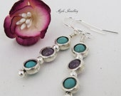 Beautiful Amethyst and Turquoise Drop Earrings, Sterling silver earwires