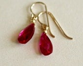 Ruby Teardrop Earrings-Re...
