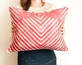 HerringBone scatter cushion in Coral pink, striped watercolor printed cushion