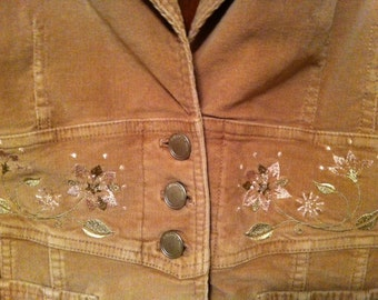 Corduroy Jacket Vintage In A Dusty Rose  Color With Embroidery