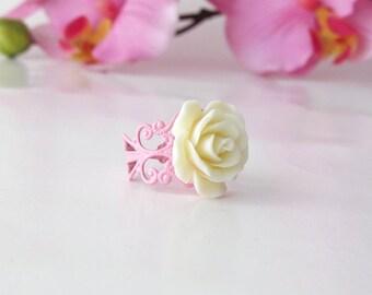 Cream Rose Cabochon Ring - Pink Filigree Adjustable Ring