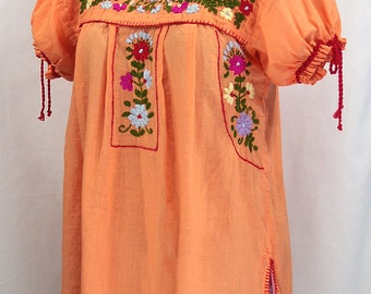 "Hand Embroidered Mexican Peasant Blouse Puff Sleeve: ""La Antiguita"" in Light Orange"
