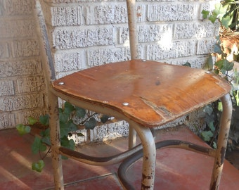 Vintage Childrans Metal and Wood Chair Industrial Decor