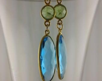 Shining Peridot and Sky Blue Topaz Dangling Earrings.