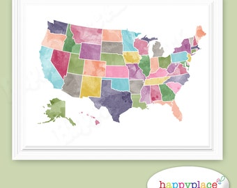 Bright Watercolor USA Map Printable For Instant Download In - Large us map printable