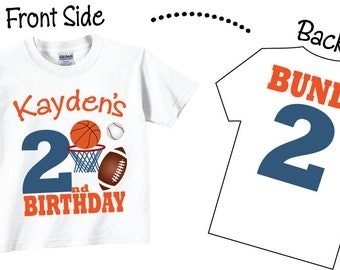 2nd Birthday Sports Shirts for Boys, 2nd Birthday or ANY AGE Birthday Sports Tshirts