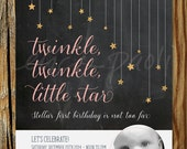 Twinkle, Twinkle, Little Star Birthday Invitation Printable – First Birthday Invite with Photo