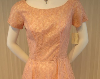 "New with Tags Vintage Pink Lace 1950 Emma Domb Maxi Dress  34"" Bust"