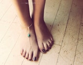 Barefoot Chain Turquoise Chain Sandal, Toe Ring, Chain Toe Ring, Chain Toe Ring Sandal