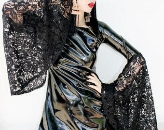 ADELE PIERRI 'Dark Moon' Glam Goth Rock Post-Punk style Black Shiny PVC Mini Dress with Lace Bell Sleeves