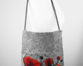 Felted Bag Poppy Handbag Nunofelt Purse Poppy purse wild Felt Nunofelt Nuno felt Silk fairy fantasy shoulder bag Fiber Art boho