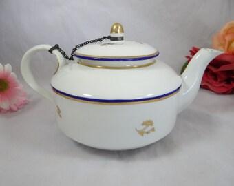 c1782 Antique Crown Derby Royal Blue and Gold Porcelain Teapot - Charming Tea Pot