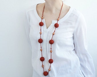Brown textile necklace wooden beads rustic summer