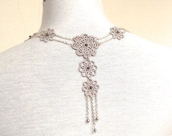Grey tatted necklace - lace neklace - tatted lace jewellery