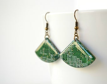 Green Motherboard Fan Earrings, Geekery earrings, Upcycled Computer Jewelry, Dangle
