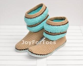 Crochet Women Boots Slippers for the Street Mint  Beige Stripe