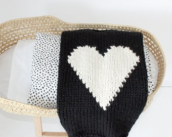 Heart Baby Blanket Black and Cream Hand Knit for Bassinet, Stroller or Car Seat
