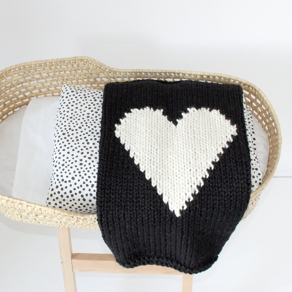 Knitting Patterns For Baby Blankets With Hearts : Heart Baby Blanket Black and Cream Hand Knit for Bassinet