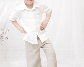 Boys shorts Toddler boy linen pants Natural linen by mimiikids