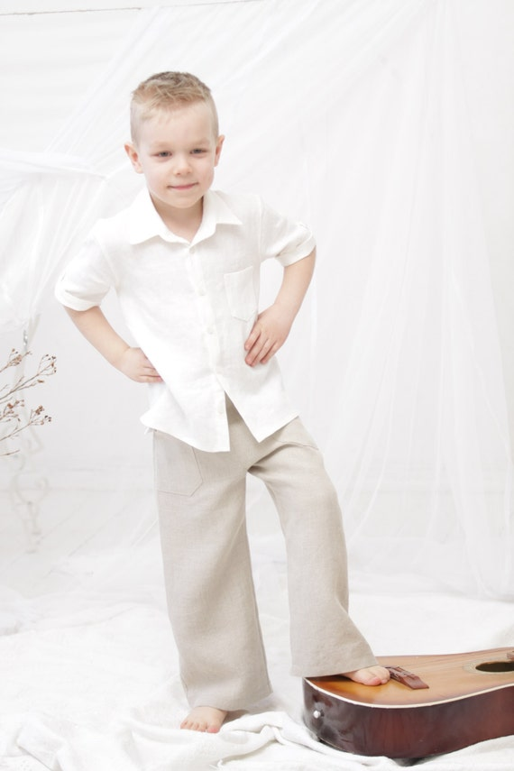 Boys pants Natural linen long pants Toddler boy linen trousers