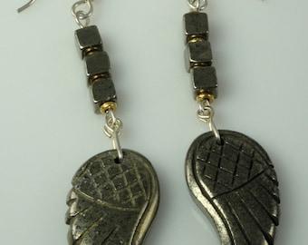 Pyrite Angel Wing Earrings