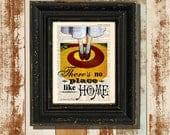 """Dictionary Page Print: -  """"There's no Place Like Home - Wizard of Oz"""" Dorothy, Ruby Slippers, Yellow Brick Road print"""