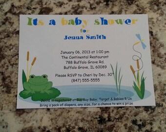 Printable Frog Baby Shower Invite