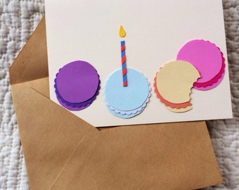 Macaron, Macaroon Birthday Candle Card