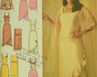 "Top, Skirt & Shawl by Khaliah Ali -2000's - Simplicity Pattern 4242 Uncut  Sizes  18W-20W-22W-24W   Bust 40-42-44-46"""