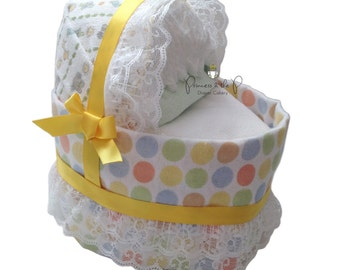 Baby Diaper Bassinet,  Diaper Cake, Baby Shower, Centerpiece, Decoration, gender Neutral, Baby gift, Diaper carriage
