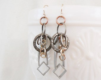 Upcycled Art Deco Silver Dangle Earrings. Treasure Box