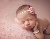 Mini Rolled Rose headband Newborn girl headband Tiny Flower  Petite flower Bow