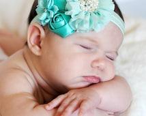 Mint satin and chiffon headband, Girl Headband,  Baby girl Headband, newborn hair bow
