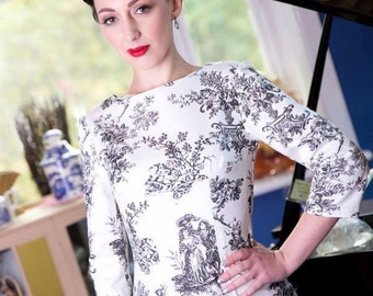SALE!!!! Black & White Toile du Jouy Shift Dress