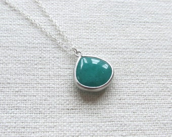 Emerald Green Teardrop Necklace, Sterling Silver Chain, Dainty Minimalist Necklace, Glass Stone